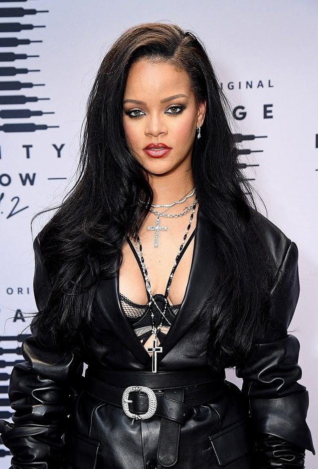 Rihanna rocking black Christian Louboutin pumps