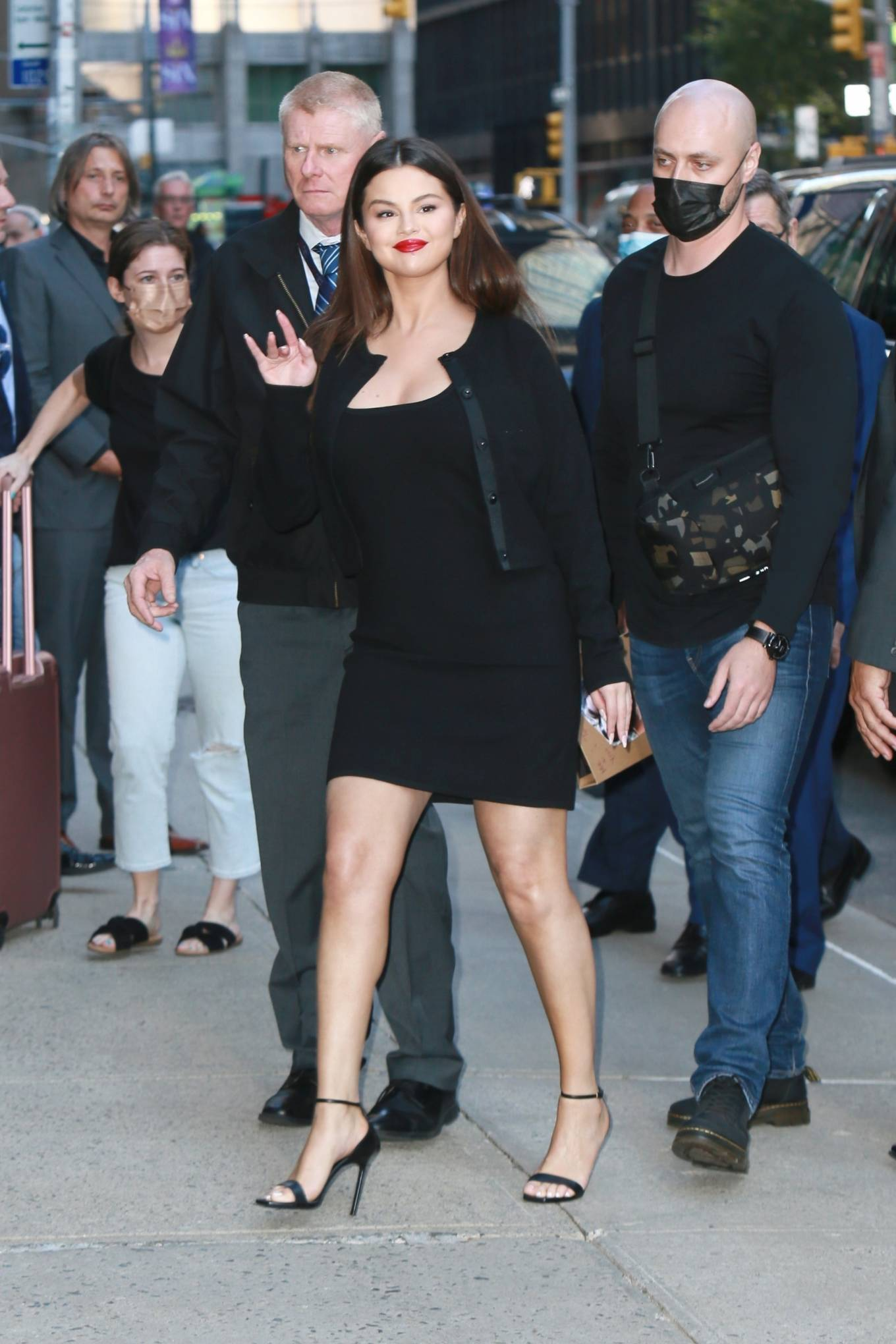 Selena Gomez donning a figure hugging black dress Victor Glemaud while out and about in New York