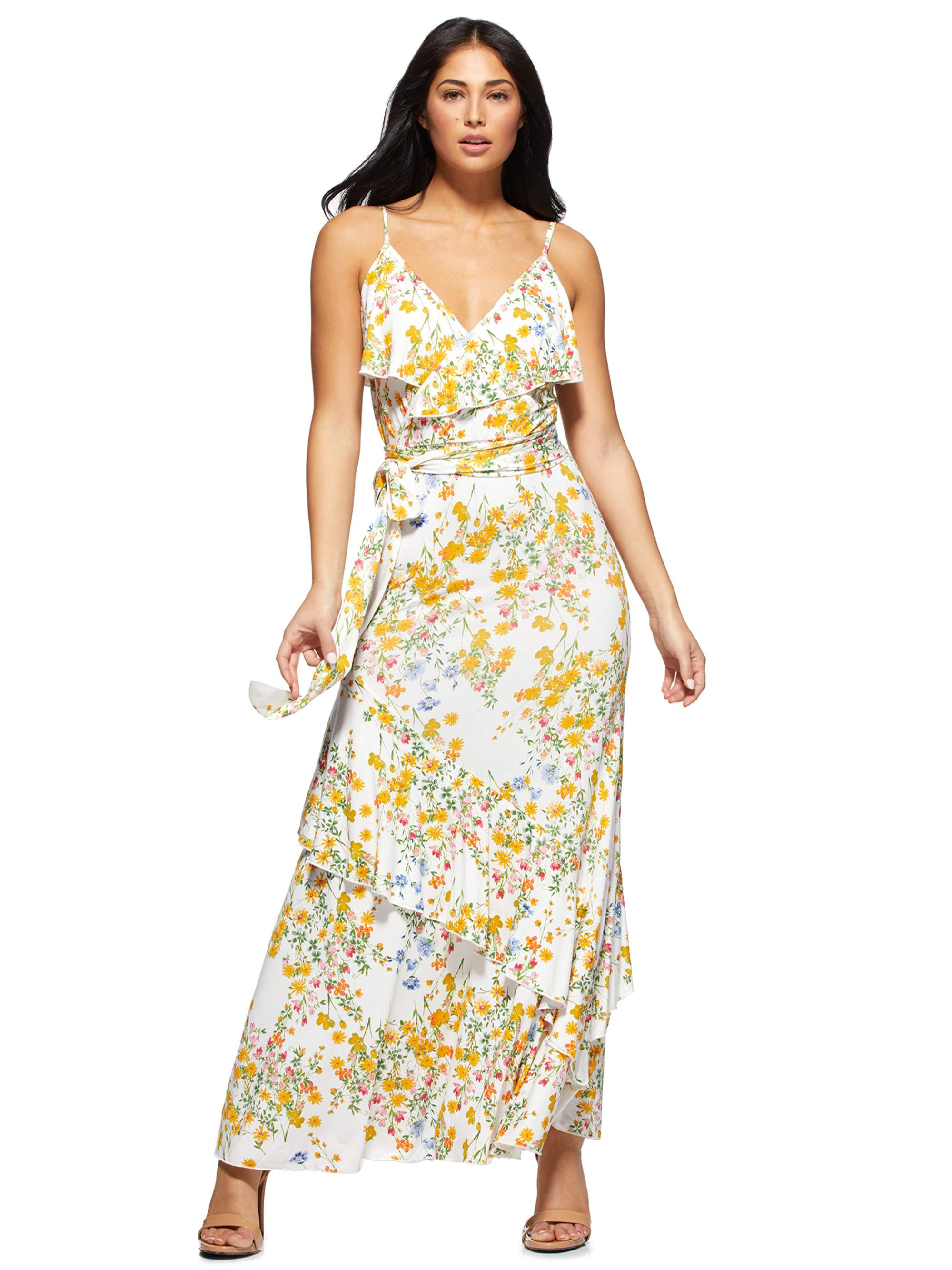 Sofia Vergara rocking a White floral printed Walmart wrap dress with a georgette material, floral print, a V-neck, spaghetti straps, cinched waist and layered hem