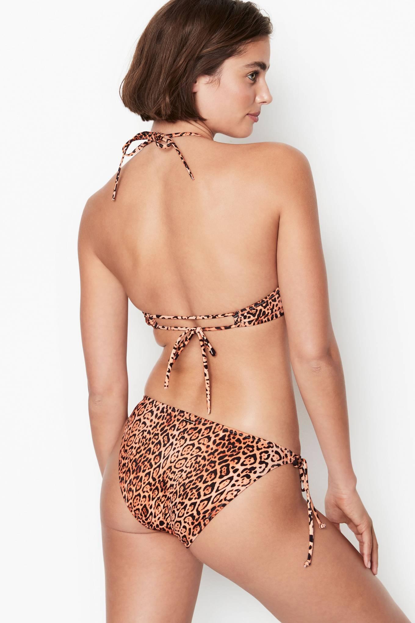 Taylor Hill rocking sexy brown nylon leopard print bikini bottom with tied waist