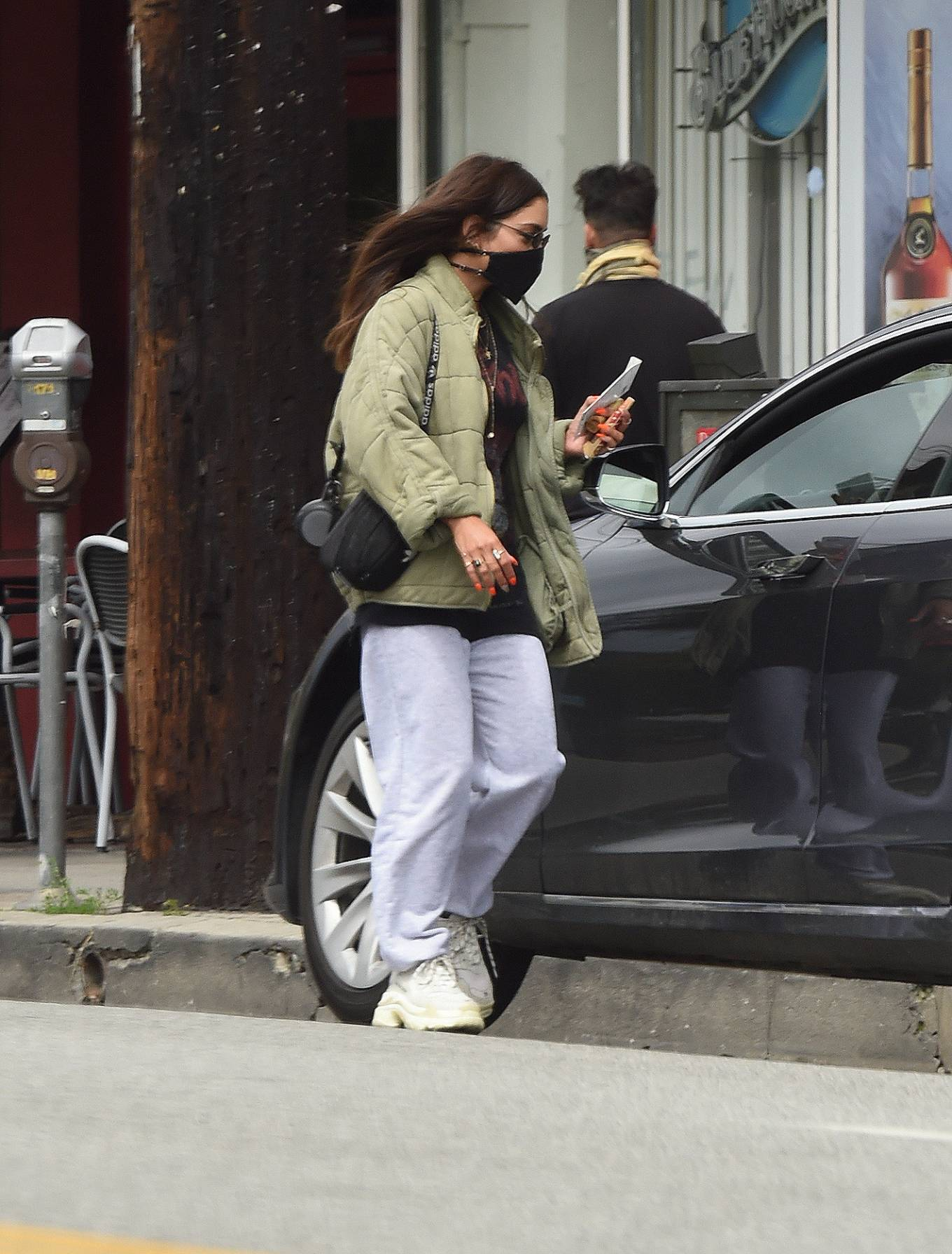 Vanessa Hudgens rocking Baggy grey cotton sweatpants with a cotton material