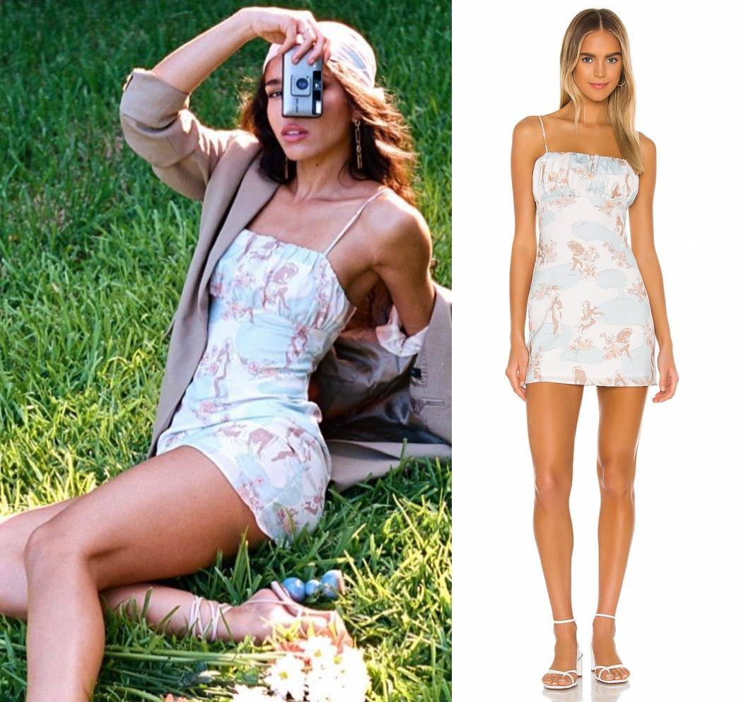 Yovanna Ventura donning a Summery Song Of Style light blue printed mini dress with thin shoulder strap and pleated