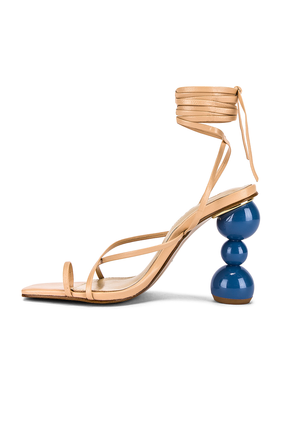 Yovanna Ventura rocking Nude leather crisscross tie sandals by Song of Style with stacked ball heel and thin ankle strap